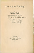 Golf Collectibles:Autographs, 1920 Willie Park Signed Book Page....