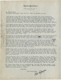 Golf Collectibles:Autographs, 1930's Bill Richardson Signed Letter to Walter Hagen....