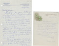 Golf Collectibles:Autographs, 1961 George Archer & 1967 Jerry Barber Handwritten SignedLetters Lot of 2....