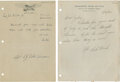 Golf Collectibles:Autographs, 1944 Dutch Harrison & 1942 Bud Ward Handwritten Signed LettersLot of 2....