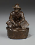 Sculpture, OLAF WIEGHORST (American, 1899-1988). Seated Cowboy. Bronze. 5-1/2 x 4 x 3-3/4 inches (14.0 x 10.2 x 9.5 cm). Signed on ...