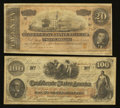 Confederate Notes:1864 Issues, Two Silked Notes.. ... (Total: 2 notes)