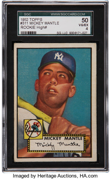1952 Topps Mickey Mantle 311 Sgc 50 Vgex 4 Baseball Cards