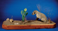 Zoology:Taxidermy, BADGER WITH PRAIRIE DOG DIORAMA. ...