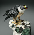 Lapidary Art:Carvings, STATELY PEREGRINE FALCON ON TOURMALINE BASE. ...