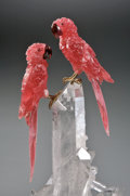 Lapidary Art:Carvings, GEM RHODOCHROSITE MACAWS ON ROCK CRYSTAL. ...