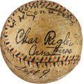 Autographs:Baseballs, 1913 World Series Game Used Baseball Signed by Tommy Connolly....