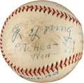 "Autographs:Baseballs, 1949 Cy Young Single Signed ""Stat"" Baseball...."