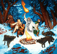 MICHAEL HERRING (20th Century) The Wolves of Mt. Caradhras from Lord of the Rings, Tolkien calendar illustratio