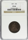 Proof Seated Quarters, 1871 25C PR64 NGC....