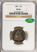 Proof Seated Quarters, 1881 25C PR64 NGC. CAC....