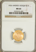 Commemorative Gold: , 1926 $2 1/2 Sesquicentennial MS65 NGC. NGC Census: (919/91). PCGSPopulation (1723/122). Mintage: 46,019. Numismedia Wsl. P...