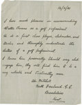 Golf Collectibles:Autographs, 1921 Abe Mitchell Handwritten Signed Letter....