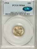 Barber Dimes: , 1914 10C MS66 PCGS. CAC. PCGS Population (50/5). NGC Census:(32/1). Mintage: 17,360,656. Numismedia Wsl. Price for problem...