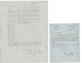 Golf Collectibles:Autographs, 1963 Bill Cox & Circa 1950's Arthur Lacey Signed Letters Lot of2....