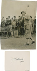 Golf Collectibles:Autographs, 1936 E.R. Whitcombe Signed Album Page & Unsigned Photograph....