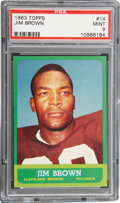 Football Cards:Singles (1960-1969), 1963 Topps Jim Brown #14 PSA Mint 9....