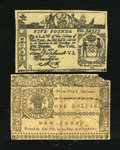 Colonial Notes:New York, Counterfeit New York February 16, 1771 £5 Fine. New York September2, 1775 $1 Good.... (Total: 2)
