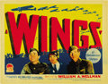 "Movie Posters:Academy Award Winner, Wings (Paramount, 1927). Title Lobby Card (11"" X 14""). ..."