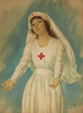 Mainstream Illustration, HASKELL COFFIN (American, 20th Century). Red Cross Nurse.Lithograph. 25.5 x 18.5 in.. Signed in the plate. ...