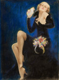 Pin-up and Glamour Art, After CHARLES GATES SHELDON (American, 1889-1960). CalendarPin-Up, 1932. Pastel on paper. 11.5 x 8.5 in.. Not signed. ...