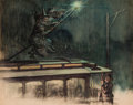 Mainstream Illustration, G. W. PETERS (American, 1855-1955). Witch on a Trolley Car.Watercolor and charcoal on board. 18 x 23.5 in.. Signed lowe...
