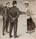 Mainstream Illustration, CHARLES GATES SHELDON (American, 1889-1960). The Skaters.Charcoal on board. 22 x 21 in.. Signed lower right. Fromt...