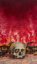Mainstream Illustration, CHRIS ACHILLEOS (British, b. 1947). Burning Skull, 1986.Mixed media on board. 24 x 14 in.. Monogrammed and dated lower ...