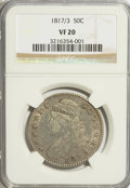 Bust Half Dollars: , 1817/3 50C VF20 NGC. NGC Census: (7/114). PCGS Population (6/140).Numismedia Wsl. Price for problem free NGC/PCGS coin in...