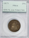 Proof Seated Quarters: , 1871 25C PR64 PCGS. PCGS Population (30/13). NGC Census: (27/21).Mintage: 960. Numismedia Wsl. Price for problem free NGC/...