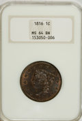 Large Cents, 1816 1C MS64 Brown NGC....