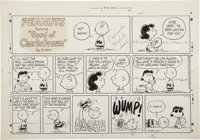 Charles Schulz Peanuts Football Place-Kick Sunday Comic Strip Original Art dated 10-9-77 (United Feature Syndicate