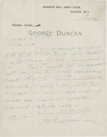 Golf Collectibles:Autographs, 1923 George Duncan Handwritten Signed Letter....