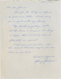 Golf Collectibles:Autographs, 1959 Johnny Goodman Handwritten Signed Letter....