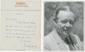 Golf Collectibles:Autographs, 1973 Henry Longhurst Handwritten Signed Letter & UnsignedPhotograph....