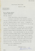 Golf Collectibles:Autographs, 1962 John Arthur Brown Signed Letter....