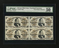 Fractional Currency:Third Issue, Fr. 1291, 1292 Milton 3R25.1, 3R25.1b 25¢ Third Issue Block of FourPMG About Uncirculated 50....