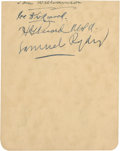Golf Collectibles:Autographs, 1920's Samuel Ryder Signed Album Page....