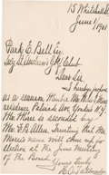 Golf Collectibles:Autographs, 1901 H.O. Tallmadge Handwritten Signed Letter....