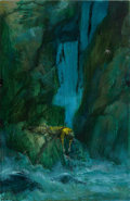 Pulp, Pulp-like, Digests, and Paperback Art, PAUL LEHR (American, 1930-1998). Fall Over Cliff, paperbackcover, 1963. Mixed media on panel. 24 x 15 in.. Not signed. ...