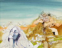 DAVID MCCALL JOHNSTON (American, b. 1940) The Song of Rhiannon, paperback cover, 1972 Mixed media on