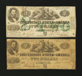 Confederate Notes:1862 Issues, Two Different 1862 $2 Types.. ... (Total: 2 notes)