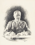 Mainstream Illustration, F. LIVINGSTONE (American, 20th Century). Portrait of GeneralPershing. Charcoal on board. 25 x 20 in.. Signed lower righ...