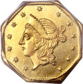 California Fractional Gold, 1855 $1 Liberty Octagonal 1 Dollar, BG-533, Low R.4, MS66 PCGS....