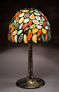Lapidary Art:Carvings, TIFFANY-STYLE AGATE SLICE LAMPSHADE. ...