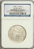 Seated Half Dollars, 1861-O 50C --Shipwreck Effect--NGC. Ex:SS Republic. Wooden caseincluded. Mintage: 2,532,633. (#6303)...