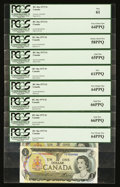 Canadian Currency: , BC-46a $1 1973. ... (Total: 9 notes)