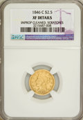 Liberty Quarter Eagles, 1846-C $2 1/2 --Improperly Cleaned, Scratched--NGC. XF Details....