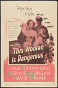 "Movie Posters:Drama, This Woman Is Dangerous (Warner Brothers, 1952). One Sheet (27"" X 41""). Drama.. ..."