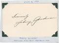Golf Collectibles:Autographs, 1936 Johnny Goodman Signed Index Card....